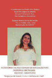 """Imagem: O próximo encontro será sobre o tema """"Eu e minha vida: uma declaração de amor. Vivência com imaginação gerada na autoestima"""", com a Profª Ângela Maria Alves de Souza, coordenadora do PLUS (Imagem: Divulgação)"""