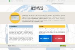 Imagem: Página inicial do site do Programa Idiomas sem Fronteiras (Imagem: Reprodução da Internet)