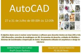 Imagem: Cartaz do curso de Autocad promovido pelo Centro Acadêmico XVI de Outubro (Imagem: Divulgação)