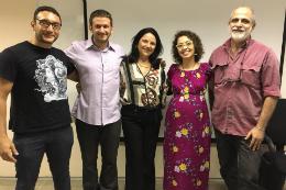 Imagem: O agora doutor Valdemir Pereira de Queiroz Neto, ao lado da banca avaliadora (Foto: divulgação)