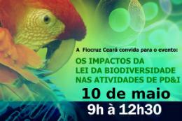 Imagem: Cartaz de divulgação da palestra com foto de arara ao fundo e informações sobre o evento