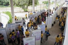 Imagem: Foto a partir de cima de estudantes apresentando trabalhos em banners nos Encontros Universitáris de 2017