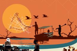 Imagem: Cartaz do curso com ilustração de paisagem do campo - sol, pássaros voando, homem com enxada, homem lançando rede de pesca num rio etc