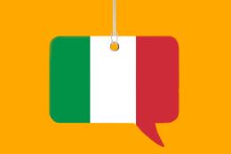 Imagem: Ilustração de balão de conversa com cores da bandeira italiana