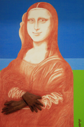 Imagem: quadro de Aderson Medeiro que com a Mona Lisa com fundo nas cores azul e verde