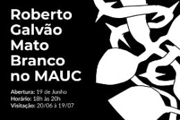 Imagem: Pintura em preto e branco com as informações da exposição na cor branca
