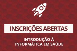 Imagem: Cartaz vermelho com letras brancas com informações sobre as inscrições no curso