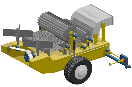 Imagem: Protótipo virtual da colhedora de forragem mutifuncional para multiculturas, que contém rodas nas laterais e peças de corte e escapamento na parte de cima, entre outros componentes (Imagem: Divulgação)