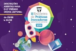 Imagem: Cartaz da atividade no fundo roxo e, ao centro, a logomarca do projeto colorida com desenhos de livros, foguetes e planetas