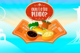 Imagem: desenho de uma cardápio de restaurante aberto, com pratos de comida em cima dele. Acima, desenho de uma placa oval marrom com a frase Qual o seu pedido? na cor branca