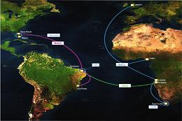 Imagem: Fortaleza é ponto de entrocamento da nova rota digital que permite conexão de redes científicas intercontinentais (Imagem: RNP/Amlight)