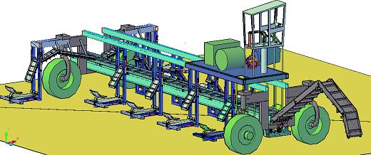 Imagem: Figura ilustra o equipamento, que é uma espécie de veículo, controlado por um operador em cabine, que percorre as vias de plantação